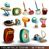 Cute Household Icons - Vector Set
