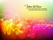 Abstract Background, Colorful Vector Waves, Smoke and Transparent Spheres