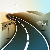 Asphalt Road in the Desert with Road Signs for Text | Vector Illustration