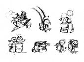 Hand Drawn Sketchy Comic Elements of Playful Children