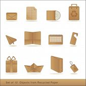 stock photo of recycled paper  - set of 12  recycled paper objects - JPG