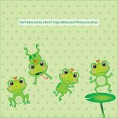 set of illustrated frogs