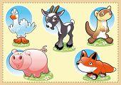 Baby animais da fazenda. Engraçado ilustração cartoon e vetor.