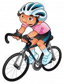 Ciclista de bebê. Personagem engraçada dos desenhos animados e vetor. Objeto isolado.