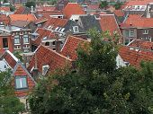 Panoramic View On A Medieval Old Town Showing Houses With  Red Roofs