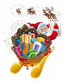 Santa Claus with gifts. Cartoon and vector Christmas illustration. Isolated objects