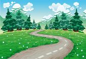 Landscape in nature. Cartoon and vector illustration, isolated objects