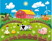 Farm illustration. Funny cartoon and vector scene.