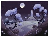 Landscape with tower in the night. Funny cartoon and vector illustration.
