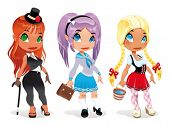 Three kind of ladies. Cartoon and vector character. Objects isolated