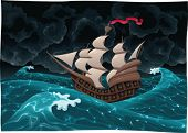 Galleon in the sea with storm. Cartoon and vector illustration, isolated objects