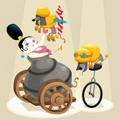 Woman with cannon and dachshunds in the circus. Cartoon and vector illustration. Isolated objects.
