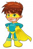 Young superhero. Funny cartoon and vector character. Isolated object