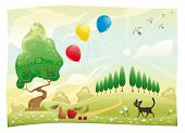 Landscape with cat. Funny cartoon and vector scene