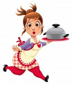 Housewife with pot. Funny cartoon and vector character.