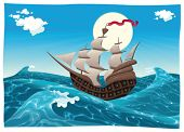 Galleon in the sea. Cartoon and vector illustration, isolated objects