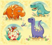 Group of funny dinosaurs. Cartoon and vector isolated characters on background