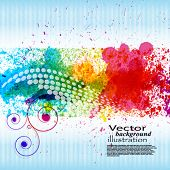 Respingos de tinta de cor. Fundo do vetor de gradiente no fundo listra azul e branca. EPS10