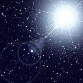 Bright star shining in the starry cosmos.