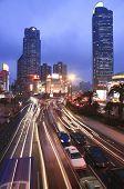 View of shanghai business district from Esplanade bridge