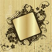 Vector floral gold frame for text