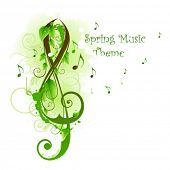 Spring card on music theme