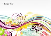 Vector illustration of abstract background with color curved lines and floral elements