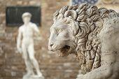 Statue of a lion at the Loggia dei Lanzi in Piazza della Signoria in Florence Tuscany. Michelangelo's David statue in front of the Palazzo Vecchio background