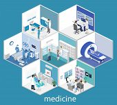 Isometric Flat Interior Hospital Room, Pharmacy, Doctors Office, Mri, Operating. poster