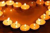 Candles in heart shape,Closeup