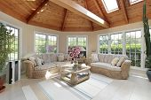 image of screen-porch  - Round porch with wood ceiling - JPG