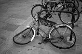 Old an mangled bike (B&W photo)