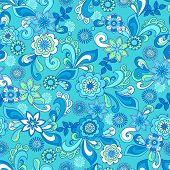 Funky Flowers Seamless Repeat Pattern Vector Illustration