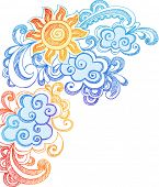 Sunny Summer Sky Hand-Drawn Sketchy Notebook Doodles Vector Illustration