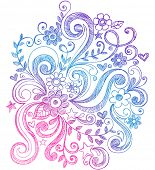 Hand-Drawn Sketchy Notebook Doodle Flower and Swirl Vector Illustration