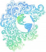 Hand-Drawn Sketchy Planet Earth Doodles Vector Illustration with Stars, Hearts, and Swirls