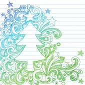 Hand-Drawn Sketchy Doodle Christmas Tree Notebook Doodles on Lined Paper- Vector Illustration