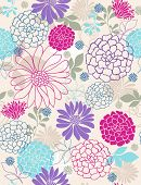 Seamless Repeat Pattern of Delicate Springtime Flowers- Vector Illustration Wallpaper