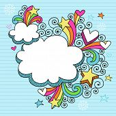 Hand-Drawn Psychedelic Cloud Shaped Frames Notebook Doodles on Lined Paper Background- Vector Illust