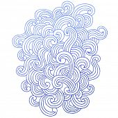 Hand-Drawn Abstract Psychedelic Waves Notebook Doodle Swirls Design Element- Vector Illustration