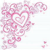 Hand-Drawn Valentine's Day Hearts Sketchy Notebook Doodles on Lined Paper- Vector Illustration Desig