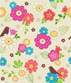 Hand-Drawn Floral & Bird Seamless Repeat Pattern-$4 in Spring Wings Design Collection Series- Vector