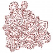Handgetekende abstracte Henna (mehndi) Paisley Doodle Vector Illustratie Design Element