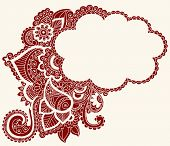 Hand-Drawn Cloud Shaped Henna (mehndi) Paisley Silhouette Vector Illustration Design Element