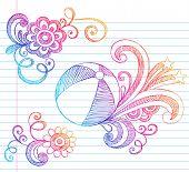 Mão-extraídas verão férias praia bola esboçado Notebook Doodles ilustração vetorial no forrada Sketchbo