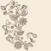 Hand-Drawn Abstract Henna Mehndi Vines and Flowers Paisley-Style Doodle Vector Illustration Design E