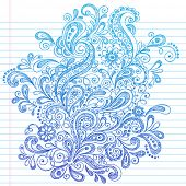 Hand-Drawn Paisley Henna Style Sketchy Notebook Doodles Vector Illustration on Lined Sketchbook Pape