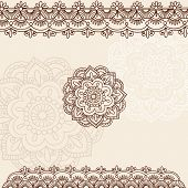 Hand-Drawn Henna Mehndi Tattoo Flowers and Paisley Border Doodle Vector Illustration Design Elements