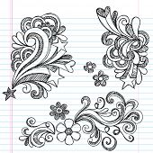 Hand-Drawn Back to School Hearts, Swirls, Flowers, and Stars Sketchy Notebook Doodles Vector Illustr