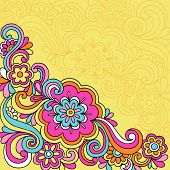 Hand-Drawn Psychedelic Groovy Flower and Swirls Notebook Doodles on Yellow Background- Vector Illust